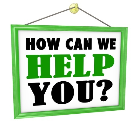 18704634 - the words how can we help you on a hanging store offering customer service and assistance